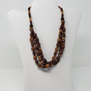 Multi Strand Wood Seed Bead Statement Necklace